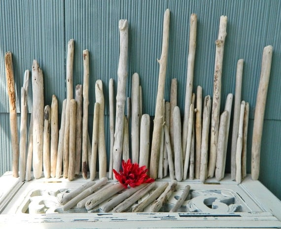 Reserved for Nicole Mark  Natural Straight Driftwood Sticks Instant Collection of 53  Surf Tumbled Pieces Coastal decor & Beach Wedding S-53