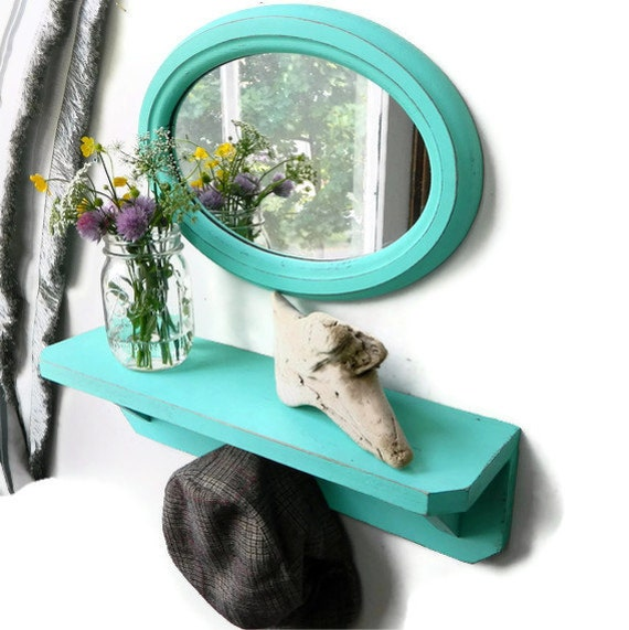 Sea Breeze Vintage Shelf and Mirror Set Perfect Beach House Decor & Shabby Chic Home Decor Wall Hanging
