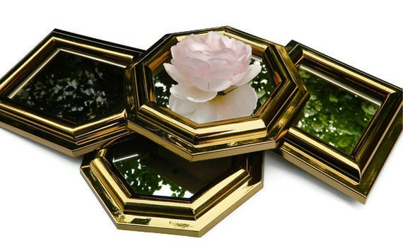Mirror Collection Vintage Burwood Set  of 4  Luxe Gold  Hollywood Regency Wall Decor