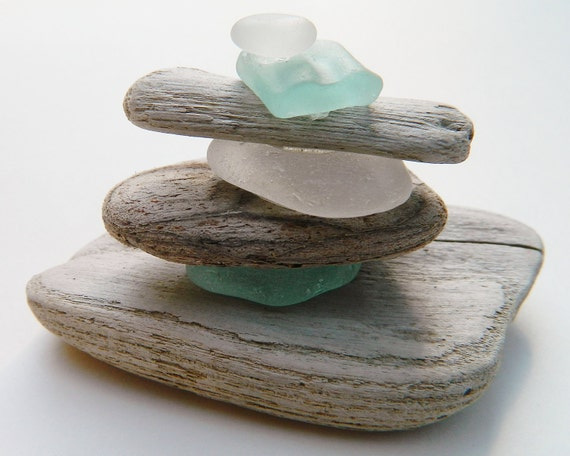 Small Sea Glass and Driftwood Sculpture No. 1 Coastal Inspired Fine Art