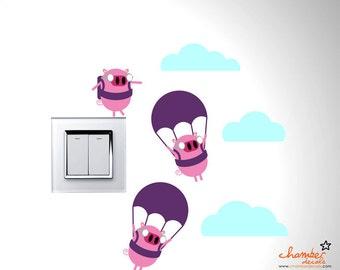 Cute Parachuting Pigs Wall Decal