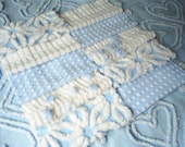 Reserved Listing-Vintage Baby Blue Chenille Bedspread Quilting Squares 10-6 inch