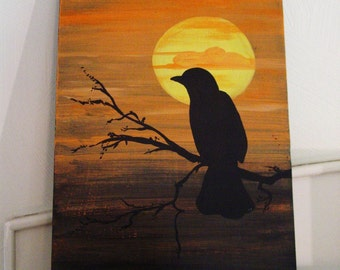 Crow by the Moon Original Art