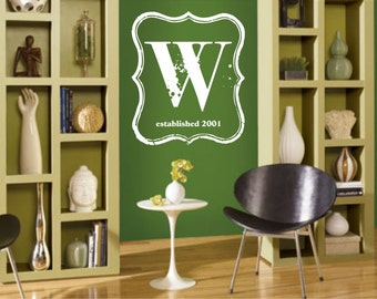 LARGE Vintage Inspired Monogram Vinyl Wall Decal (M-001)