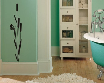 Cattail and Butterfly Vinyl Wall Decal