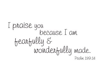 I Will Praise You - Psalm 139:14 Vinyl Wall Decal (B-024)