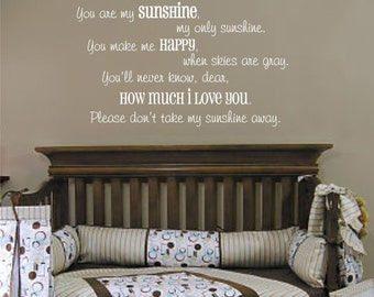 You are My Sunshine Vinyl Wall Decal (K-030)