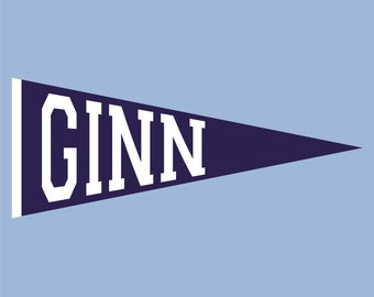 Pennant with Name Vinyl Wall Decal (K-046)