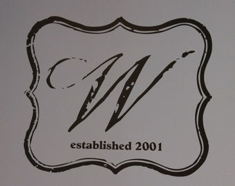Vintage Inspired Monogram Vinyl Wall Decal (M-001)