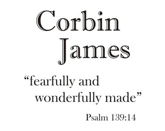 Fearfully and Wonderfully Made - Psalm 139:14 WITH NAME Vinyl Wall Decal (B-029c)