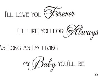 I'll Love You Forever - Vinyl Wall Decal (K-032b)