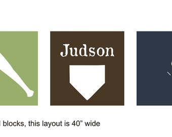 THREE color triple block baseball decal