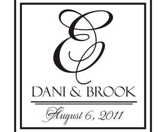 XL 46 inch Classic Double Bordered Monogram Wedding Couple Reception Dance Floor Vinyl Decal (W-021)
