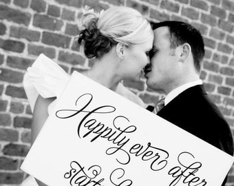 Happily Ever After Starts Here Wedding Wood Sign (W-024)