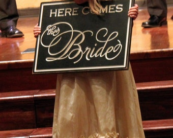 Here Comes the Bride Engraved Wood Sign (W-028a)