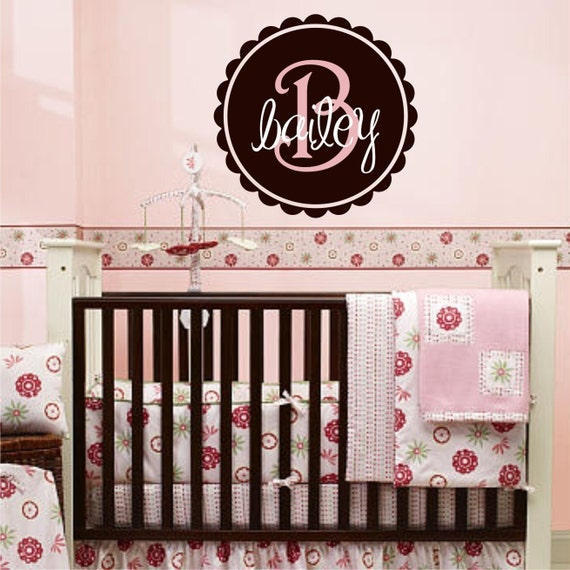 Scalloped Circle Monogram with Name Vinyl Wall Decal (m-004)