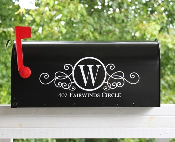 TWO SIDES - Swirly Monogram Mailbox Address Vinyl Decal