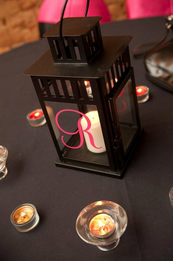 Monogram Initial for Lantern - wedding decor - photo prop - reception decor