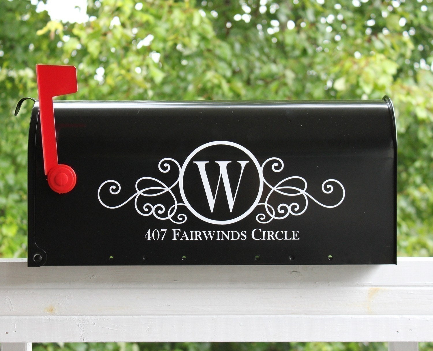 Two Sides Swirly Monogram Mailbox on swirly number 4