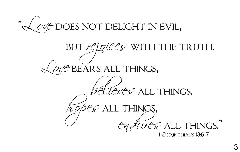 Corinthians Love Quotes Love Endures All Things 1 Corinthians 1367 Vinyl Wall