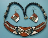 Magnifficent rare beautiful vintage 1980s unused handcrafted choker necklace set designed by LEE SANDS