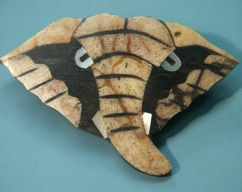 Rare vintage 1970s handcrafted elephant head brooch designed by worldknown hawaiian designer/artist Lee Sands