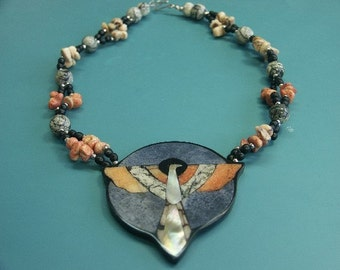 Rare beautiful vintage 1970s handcrafted thunderbird necklace designed by worldknown Hawaiian designer/artist Lee Sands