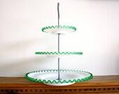 Antique Fenton Emerald Crest 3 tier serving tower Tidbit Green Wedding 1950s
