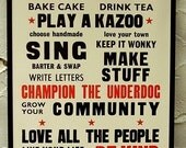 Kill Your TV Letterpress Manifesto Poster