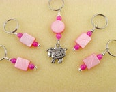 Stitch Markers - Knitting - Crochet -  Pink Sheep - Handmade - Set of 5 - Matching Row Counter