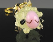 Stitch Marker - Lulu The  Sheep -  Knitting - Crochet - Pendant - Handmade - Glow in the dark - miniature glass sculpture