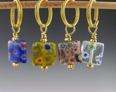 Seasons Of Knitting -  Stitch Markers - Knitting - Crochet - Phone Charms / Fobs - Handmade  -  Set of 4