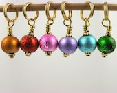 Stitch Markers -  Knitting - Crochet - Confetti -  Handmade - Set of 6 - matching row counter is available