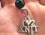 I Love 2 Knit - Zipper Pull - Cell Phone Charm - Key Chain - Scissor Fob - Handmade
