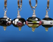 Stitch Markers - Knitting - Crochet - Night Garden - Handmade - Set of 4