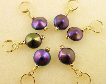 Knit Stitch Markers - Amethyst Mirror - Handmade - Knitting - Crochet Markers - Charms - Row Counter - Set of 6