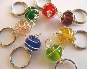 Knit Stitch Markers - Rainbow beads - Handmade - Knitting - Crochet - Removable Markers - Row Counter - Charms - Set of 7