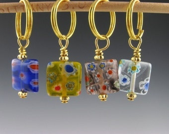 Knit Stitch Markers - Seasons Of Knitting - Handmade - Knitting - Crochet - Removable Markers - Row Counter - Charms - Set of 4