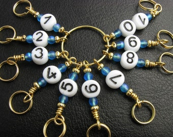 Knitting Row Counter - Aqua Round About -- Handmade - Matching stitch markers are available