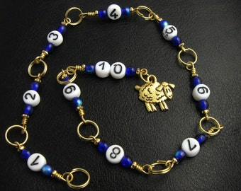 Blue Sheep - Row Counter - Knitting - Crochet - Handmade - Pressed Glass - matching stitch markers available.