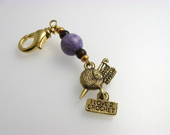 Crochet Stitch Marker - I Love 2 Crochet - Purple - Handmade