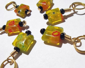 Knit Stitch Markers - Sun Drops - Knitting - Crochet Markers - Handmade - Row Counter - Charms - Earrings - Set of 6