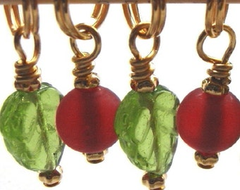 Knit Stitch Markers - Leaves and Berries - Handmade - Knitting - Crochet Markers - Removable - Charms - Earrings - Set of 4 - Row Counter