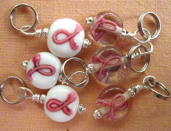 Stitch Markers Knitting Crochet Pink Ribbon Handmade