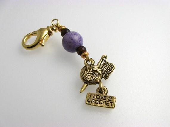 Crochet Stitch Marker I Love 2 Crochet Purple by ChickenStitches
