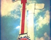 Kamikaze - vintage amusement park ride - red pink blue carnival - home decor wall art - 8 x 10 fine art print