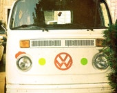 VW bus groovy 1960's hippie Volkswagen retro vintage van white red photograph - 8 x 10 fine art print