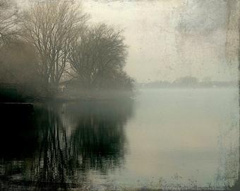 "Misty lake fog autumn earth tones dark neutral woodland nature landscape rustic - ""Morning Reflections"" 8 x 10"