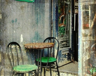 Vintage sidewalk cafe summer table chairs boho home grunge kitchen art home decor wall art - Le Bistro 8 x 10