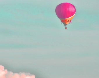 """Balloon in the sky pink clouds dreamy pastel blue sky rose hot air balloon    -  """"Soar"""" 8 x 10"""
